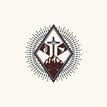 diamond, radiating, sword, arrows, mountains, mountain peaks, cross, flame, dove, icon