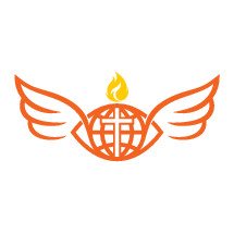 tongue of fire, flame, globe, missions, wings, Bible, logo, orange, icon
