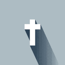 cross illustration with shadow icon.