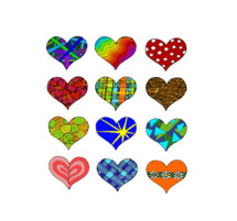 a lot of colorful hearts with different patterns. 