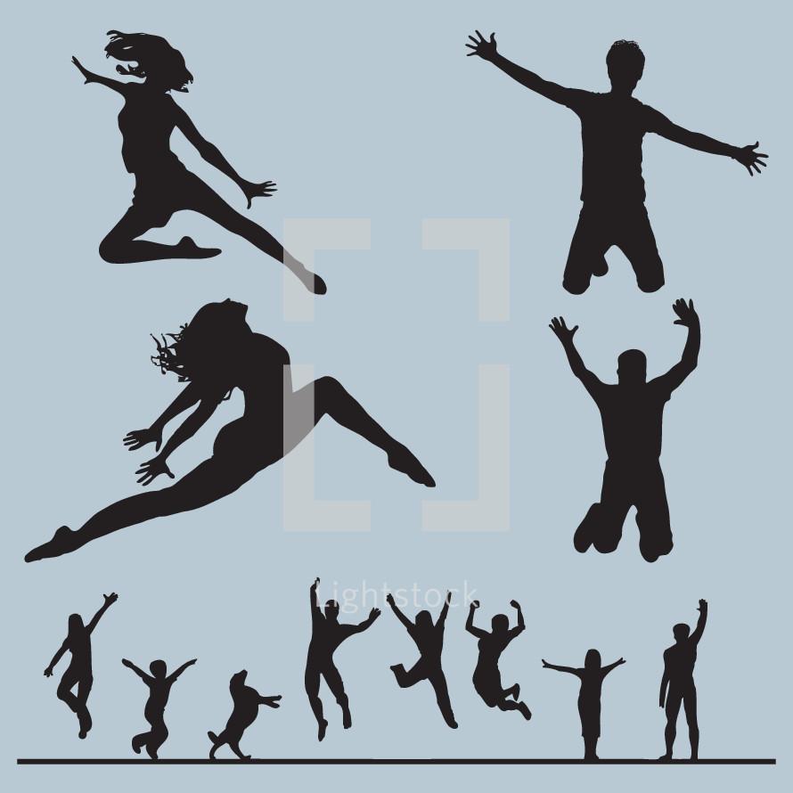 jumping, dance, silhouette, man, woman, child, girl, boy, dog, pet, animal, people, dancer, icon