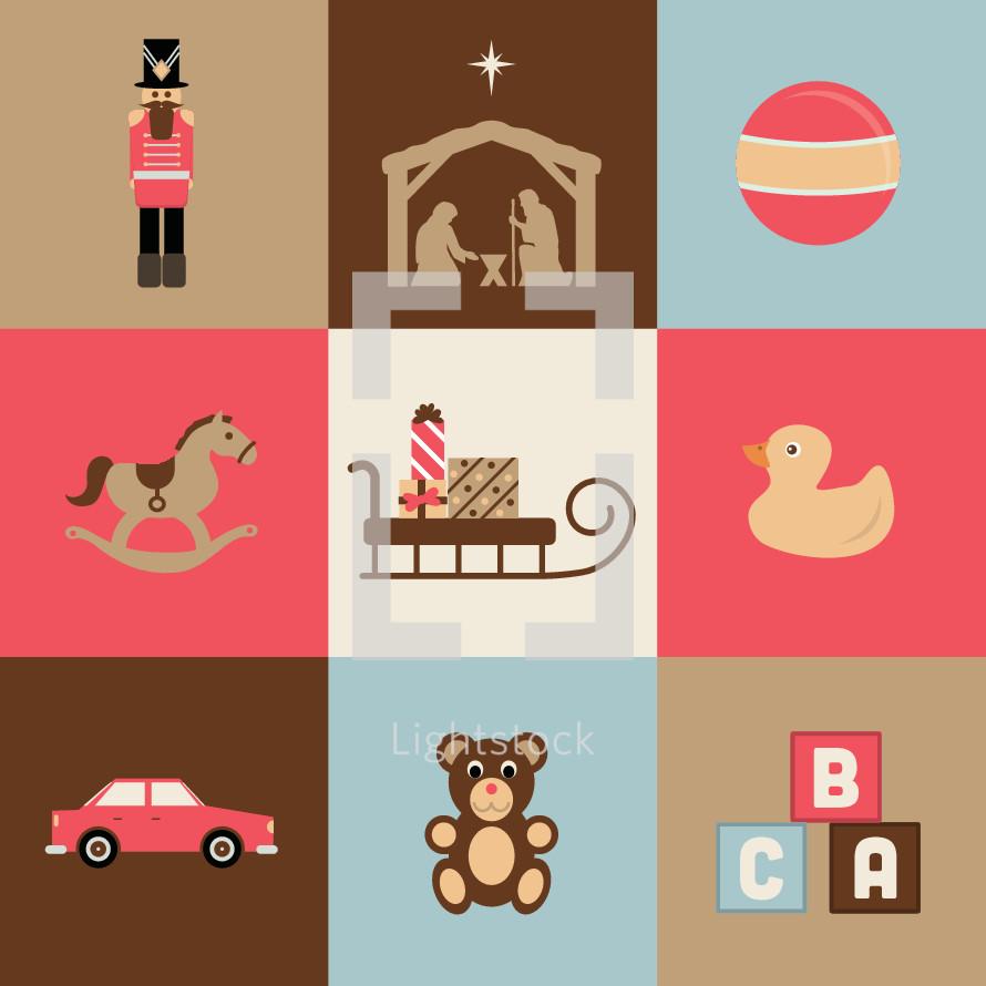 Christmas toy icons.  Nutcracker, nativity, ball, rocking horse, presents, gifts, sleigh, rubber ducky, duck, car, teddy, bear, letter blocks.