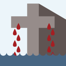 The blood from the cross of Christ dripping down into the waters of baptism