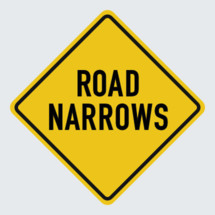 road narrows street sign
