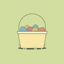 Easter basket full of colorful Easter eggs on a yellow background.