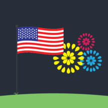 4th of July fireworks and American Flag graphic.