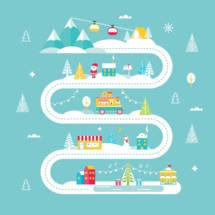 Christmas and Winter Holidays Road Map. Lights, City, Market, Mountain Cable Cars and Santa