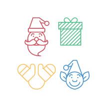 santa, elf, icon, present, Christmas, gloves, mittens
