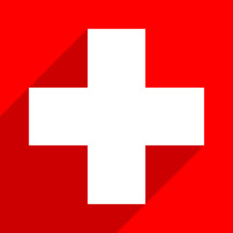 The First Aid symbol or The Swiss flag or The Red Cross symbol. White medical sign with drop shadow on red background is created in trendy flat style. The graphic element for design saved as a vector illustration in the EPS file format.