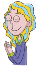 a girl cartoon with praying hands