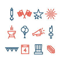 Independence Day vector icons pack.