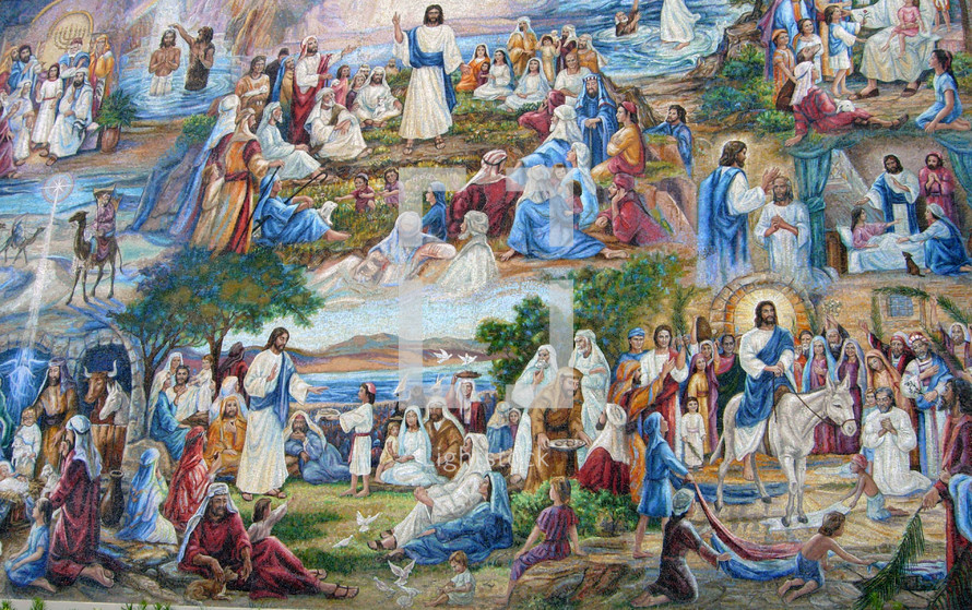 A large full color mural depicting the life, ministry and miracles of Jesus that He performed during his years as an adult. Full color fine art painting showing the life and miracles of Jesus during the time of the gospels.