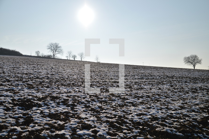 Snowfields on a frozen acre in wintertime.