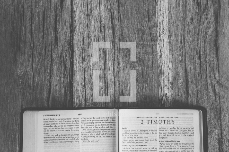 Bible opened to 2 Timothy