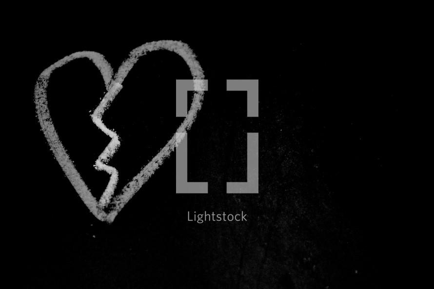 broken heart in chalk