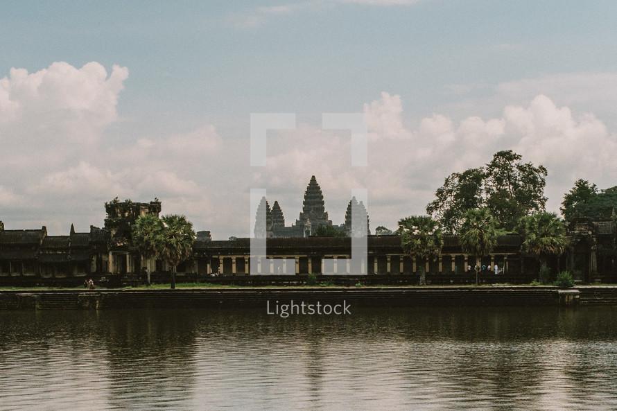 temple across a river in Cambodia