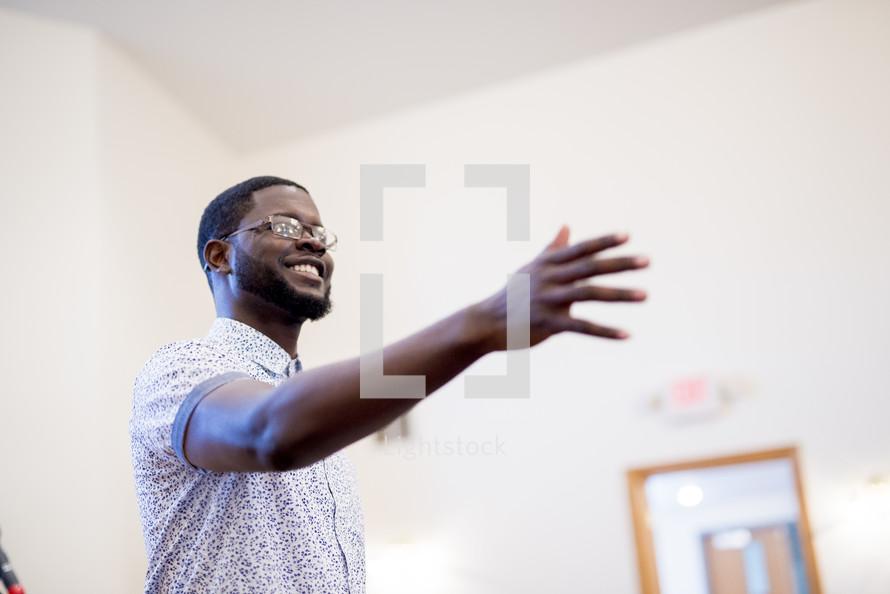 man teaching in a classroom