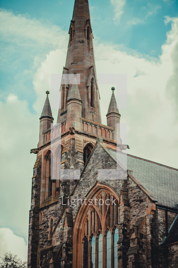 Steeple of a European cathedral.