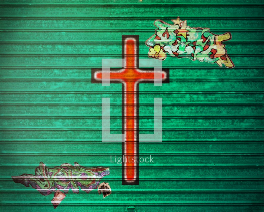 cross painted on a wall