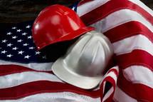 helmets on an American flag