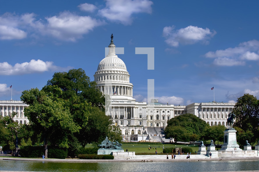 American Capitol Building in Washington DC showing the reflecting pool