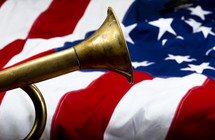 trumpet on an American flag