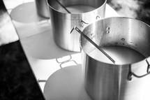 soup in a pot at a soup kitchen
