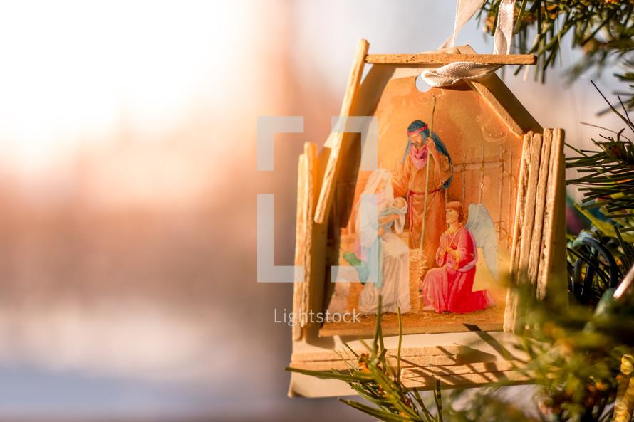 birth of Jesus painted ornament