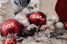 peace and joy Christmas ornaments