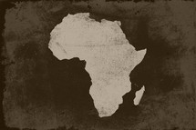 Grunged Africa map background.