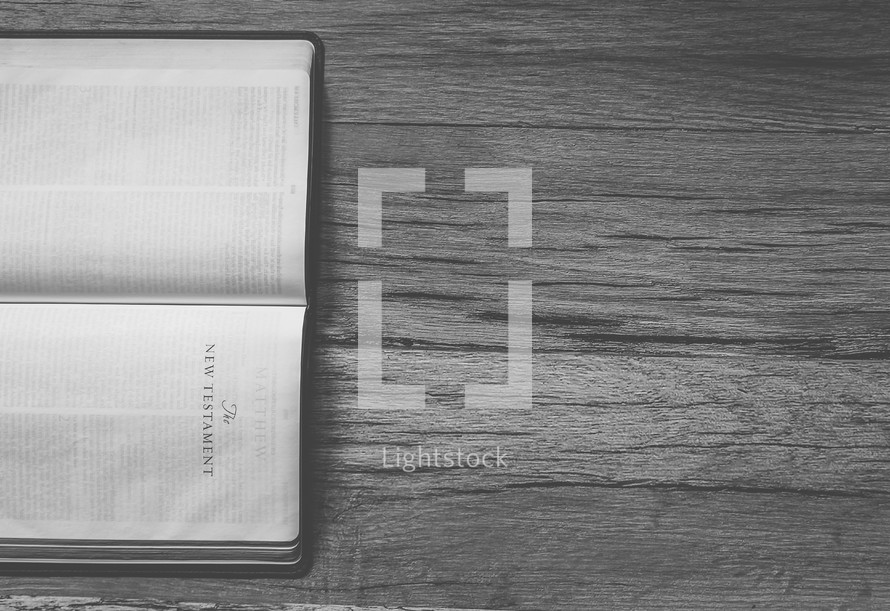 Sideways Bible opened to The New Testament