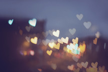 heart shaped bokeh lights background.