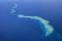 aerial view of a barrier reef,