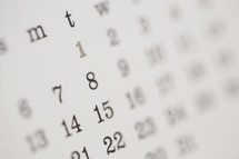 dates on a calendar