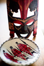 tribal mask and plate