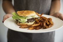 plate of burger and fries