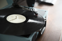 a record player playing a record