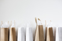 shopping bags in a row