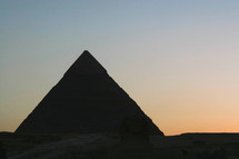 silhouette of the pyramids
