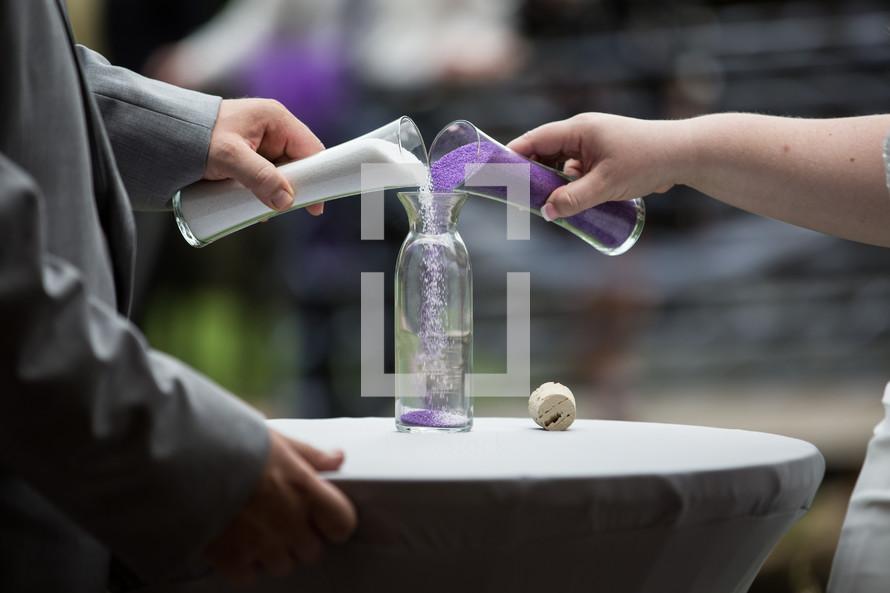 mixing salts at a wedding