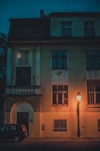 Streetlamp on a European hotel.