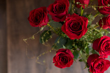 overhead bouquet of red roses