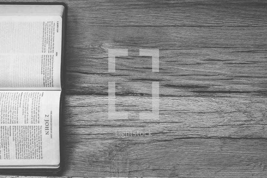 Sideways Bible opened to 2 John