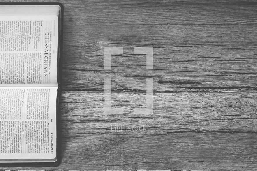 Sideways Bible opened to 1 Thessalonians