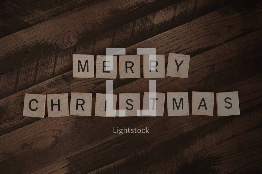 Merry Christmas spelled out in scrabble letters