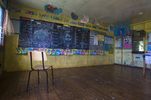 chalkboard in a small tropical island school house