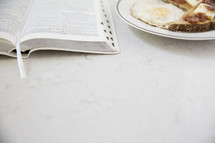 breakfast and open Bible
