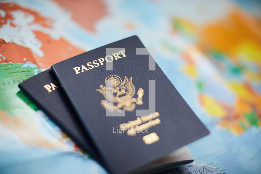 passports on a world map