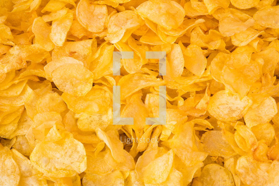 Delicious freshly cooked chips to use as background or texture