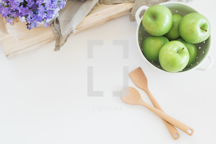 apples, fruit, bowl, house plant, wood spoons, tray, linen, wood, cauldron